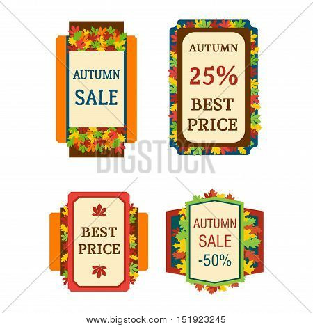 Autumn sale logo vector badge. Autumn sale logo isolated on white background. Some shopping autumn big mega sale badge stickers silhouette