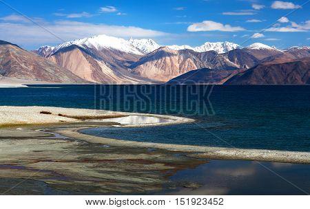 Pangong Lake In Ladakh, Jammu And Kashmir, India