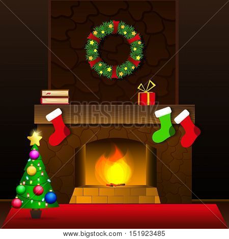 Christmas Card with fireplace and Christmas socks