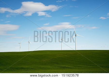 Wind Turbines in Western Kansas on a sunny day