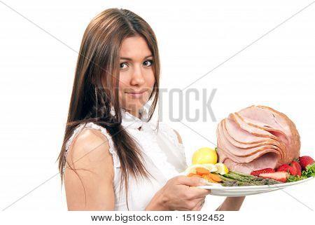 Woman Hold Plate Baked Honey Sliced Ham