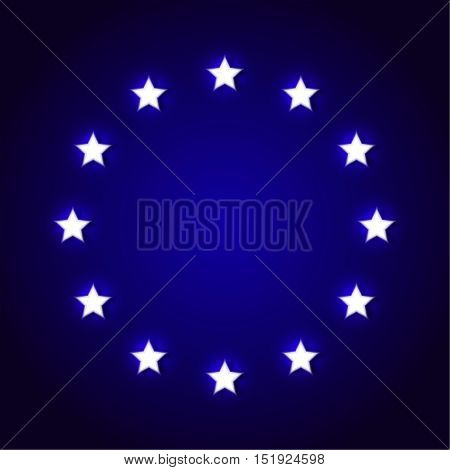 Abstract background with the shining stars and a realistic shadow. The stars located around on a black substrate. Vector illustration.