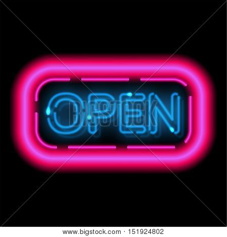Neon sign Openly. The shining frame in a retro style with illumination lamps. Information billboard. Vector illustration.