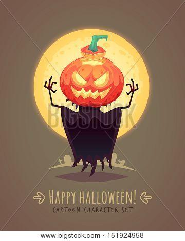 Jack o lantern. Scarecrow pumpkin. Halloween cartoon character concept. Vector illustration.