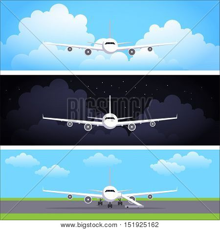 Flat vector web banners set with airplanes. Day flight, night flight. The plane costs on a landing strip at the airport. Header or flyer vector template, flat design illustration.