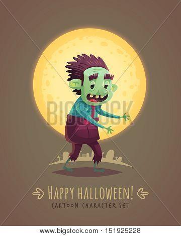 Walking zombie dead. Halloween cartoon character concept. Vector illustration.