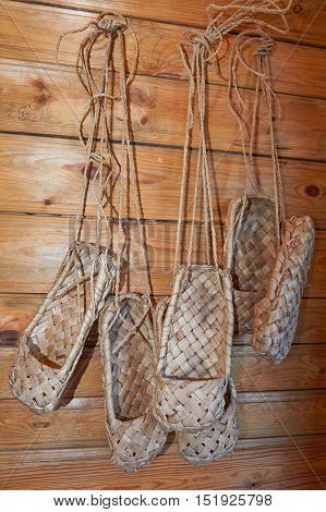 Old Russian sandals - bast shoes- made of bark