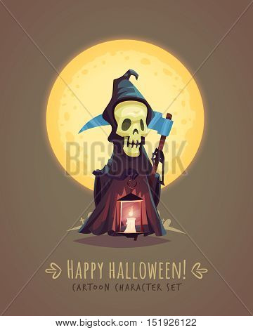 Death character with a scythe. Halloween cartoon character concept. Vector illustration.
