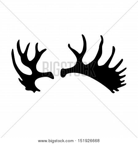adult moose antlers black silhouette vector illustration
