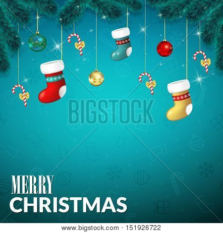 Christmas background . Christmas greeting card with baubles, stocking and candy cane, tree branches. Template for Greeting card, Congratulations, invitations. Vector illustration