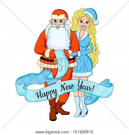 Cartoon vector illustration of sexy girl blond with santa claus. New year card.