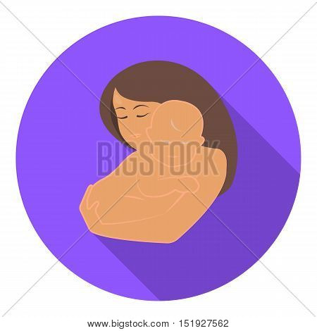 Mother and baby icon in flat style isolated on white background. Pregnancy symbol vector illustration.