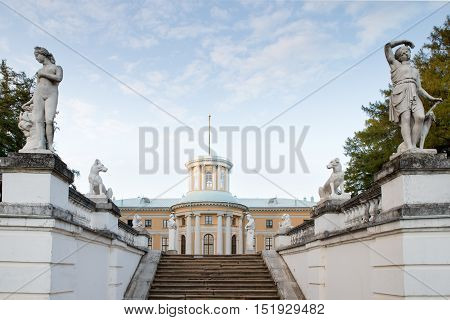 medieval estate and statue in Arkhangelsk Russia