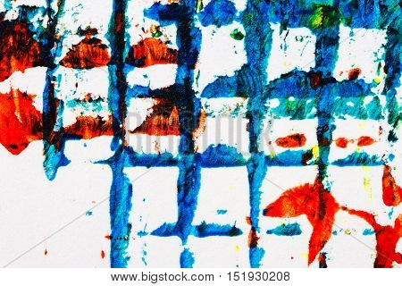 Abstract hand painted blue and red acrylic art background