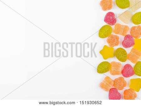 Marmalade jelly colorful candies on white background