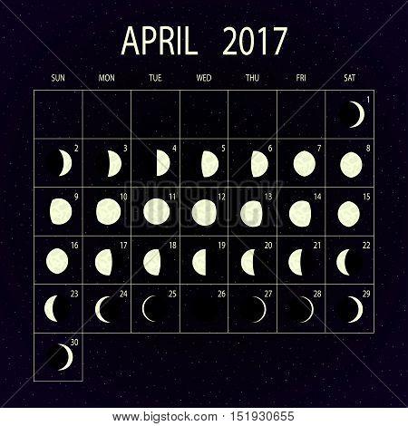 Moon phases calendar for 2017 on night sky. April. Vector illustration.