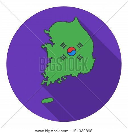 South Korea icon in flat style isolated on white background. South Korea symbol vector illustration.