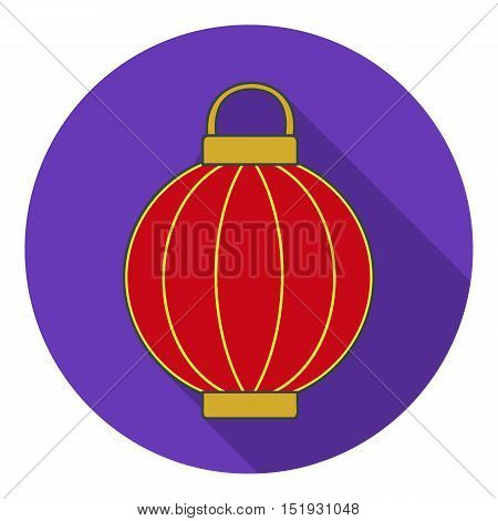 Korean lantern icon in flat style isolated on white background. South Korea symbol vector illustration.
