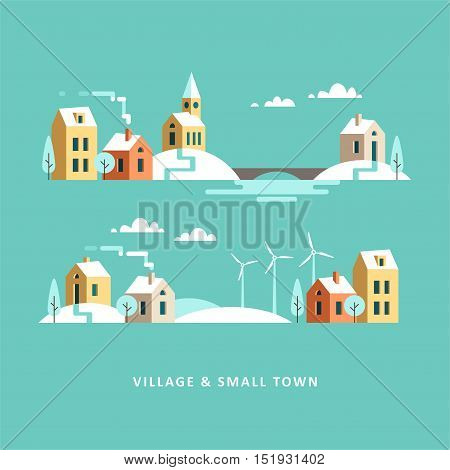 Village. Small town. Rural and urban winter landscape. Vector flat illustration.