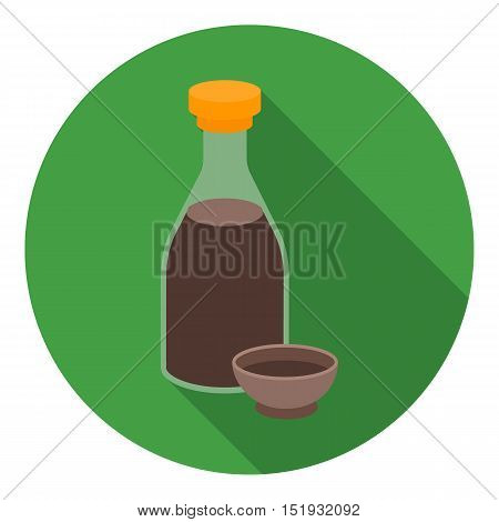 Soy sauce icon in flat style isolated on white background. Sushi symbol vector illustration.