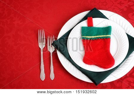 top view christmas place setting with stocking