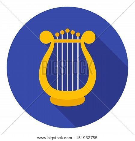 Harp icon in flat style isolated on white background. Theater symbol vector illustration