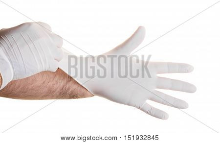 Hands in medical gloves isolated on white background
