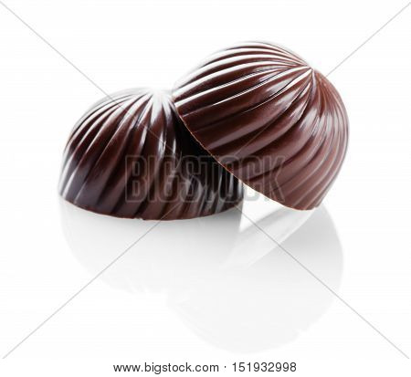 chocolate sweets closeup on a white background isolated