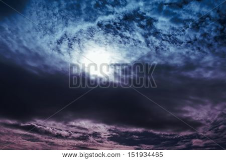 Cloudscape. Amazing colorful sky with cloudy nature background. Look like photos outside world. Overlooking the beautiful atmosphere. Beautiful nature use as background.