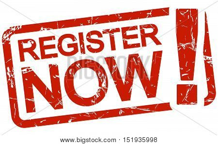 Red Stamp With Text Register Now