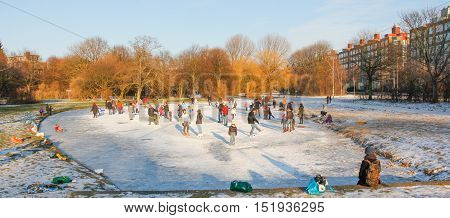 The Hague the Netherlands - February 2 2012: people on a frozen canal