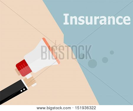 Flat Design Business Illustration Concept. Insurance Digital Marketing Business Man Holding Megaphon