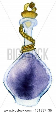 watercolor sketch of glass jar on white background