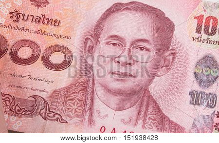Close Up Of Thai Banknote, Thai Bath With The Image Of Thai King. Thai Banknote Of 100 Thai Baht. Th