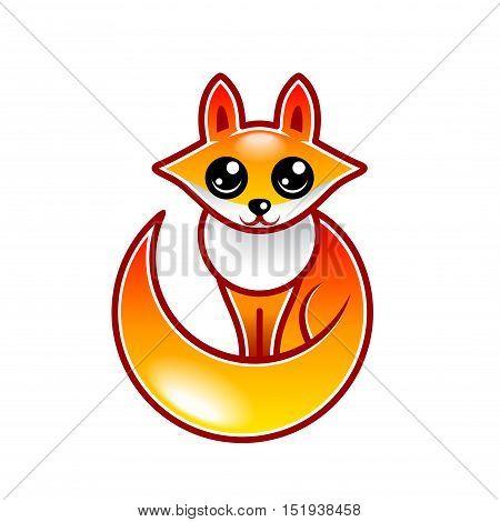 Cute cartoon fox isolated on white vector illustration