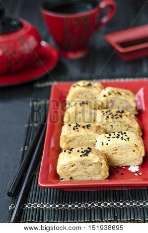 Japanese egg omelet tamago-yaki for morning breakfast