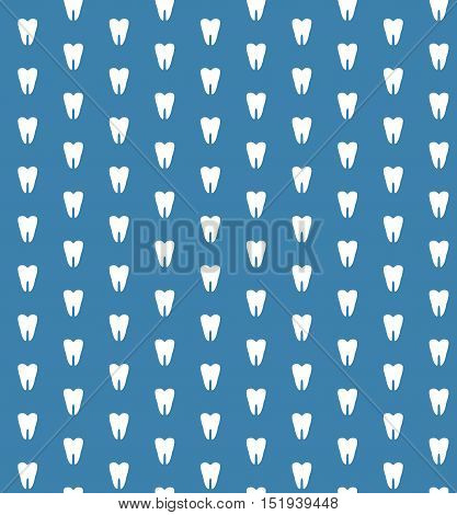 Tooth silhouettes blue and white seamless vector pattern dental background