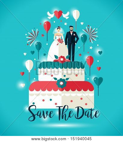 Wedding Invitation Card. Two On Wedding Cake With Balloons.