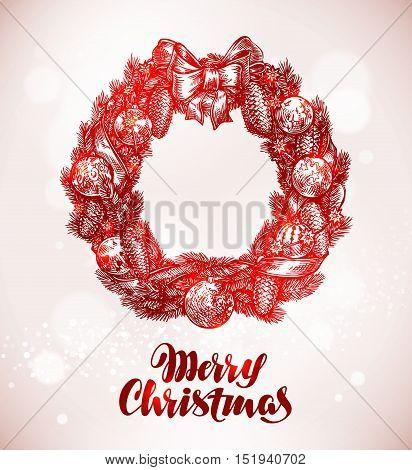 Merry Christmas. Wreath, xmas decorations Sketch vector illustration
