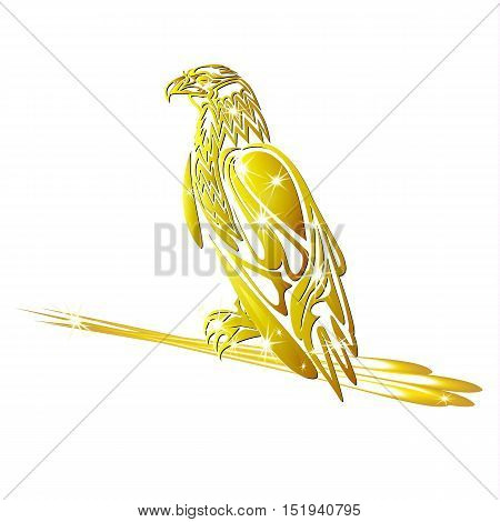 Golden eagle with arrows in talons on a white background