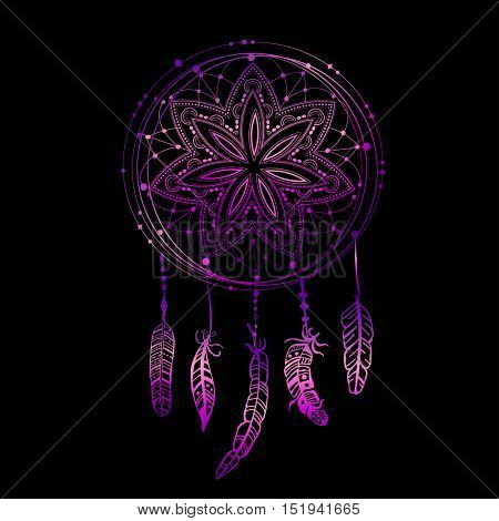 Abstract glowing dreamcatcher in blue and pink colors. Luminescence vector illustration. Boho style background, ethnic design element for flyers, covers, tshirts, clothing, print and web design