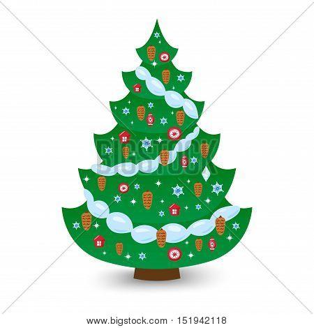 Christmas tree vector ornament star xmas gift design. Holiday celebration winter christmas tree. Vector season decorative shiny christmas tree, festive pine bright card symbol.
