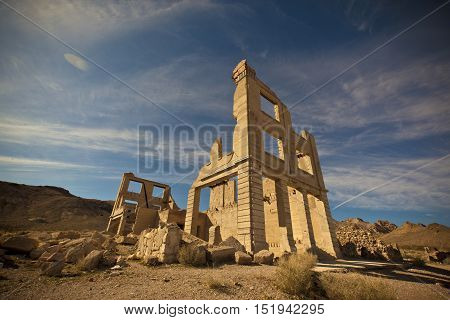 Old abandoned bank building ruin in a ghost town