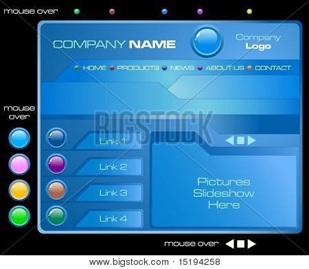 website tech template with rollover buttons - vector illustration