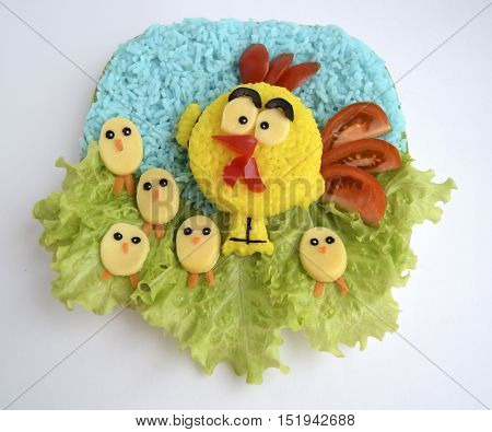 The rooster is made of rice. Ridiculous food for good mood and appetite
