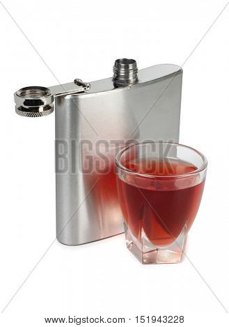 Metal flask and a glass on a white background