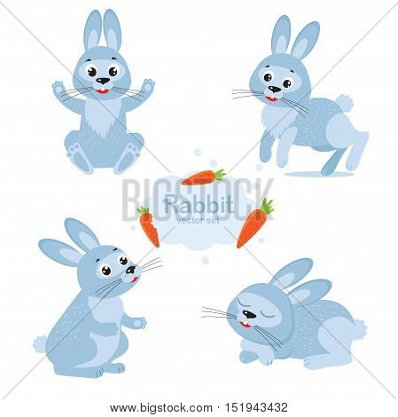 Cute Bunny Vector Set. Collection Cartoon Rabbit In Different Poses. Funny Rabbit Characters Set. Bunny And Carrot. Cute Bunny drawing. Bunny plush.