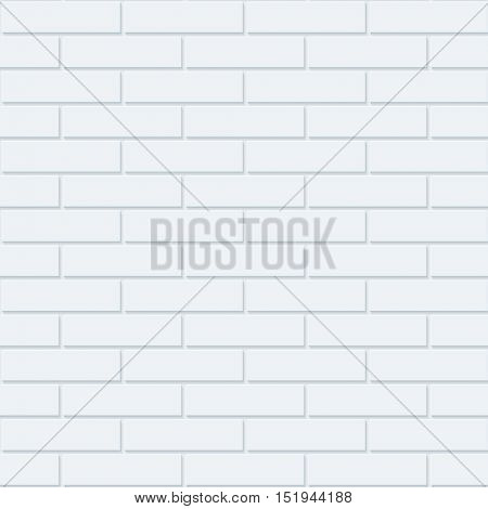 White bricks wall seamless background. Neutral tileable pattern of brickwall. Vector EPS10.
