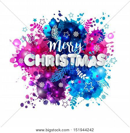 Sign Merry Christmas In Paper Style On Multicolor Hand Drawn Blots Background.