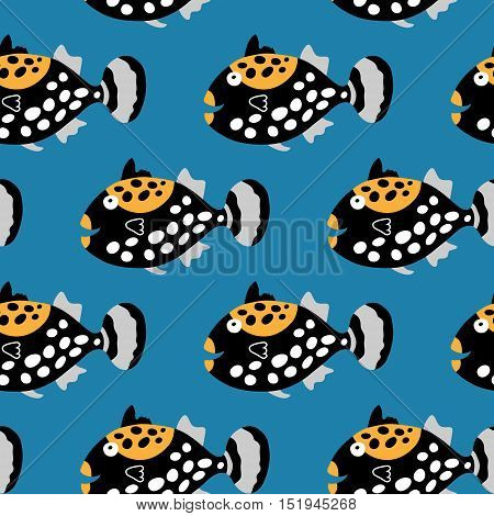 Seamless Pattern With Cute Tropical Fish Clowns